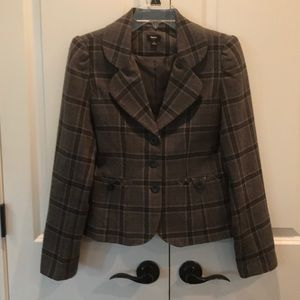 Grey with brown, purple and blue plaid wool blazer